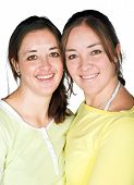 image of sissi  - casual happy sisters over a white background - JPG