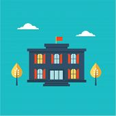 stock photo of school building  - School building icon flat style illustration cute - JPG