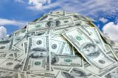 stock photo of 100 dollars dollar bill american paper money cash stack  - big pile of money - JPG