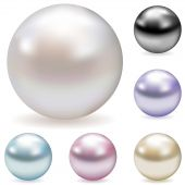 pic of pearl-oyster  - Vector collection of color pearls isolated on white - JPG