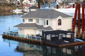 image of bayou  - A large floating  house at the edge of the bayou - JPG