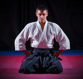 pic of aikido  - Aikido fighter on black background - JPG