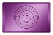 stock photo of bronze silver gold platinum  - Purple colored metal texture with bitcoin logo stamp on it and clippingpath for white removal - JPG