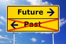 pic of past future  - future and past concept with yellow road sign - JPG