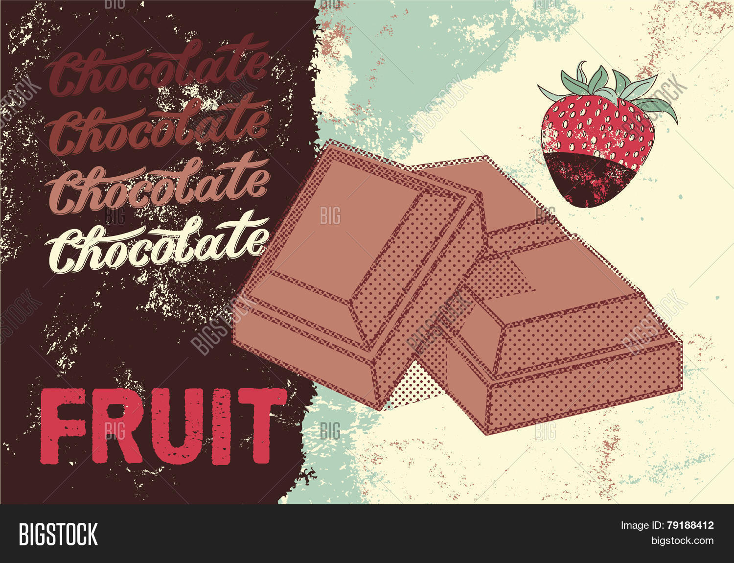 Vintage Chocolate packaging design. Fruit chocolate poster. Vector ...
