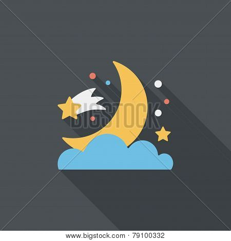 Space Moon And Star Flat Icon With Long Shadow,eps10
