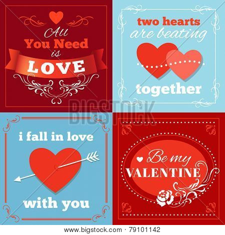 Valentines Day cards with heart shape and typography. Vector eps 10.