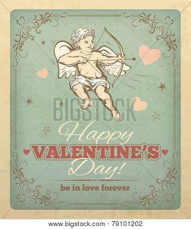 Vintage Valentines Card with cupid and typography. Vector eps 10.