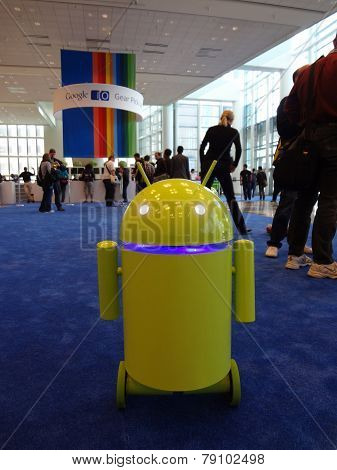 Yellow-green Android Robot Rolls Around At The Google Io Android Convention