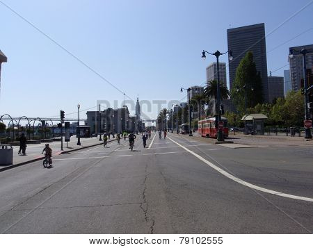 Kids And Adults Bike On The Embarcadero Road At Sunday Streets