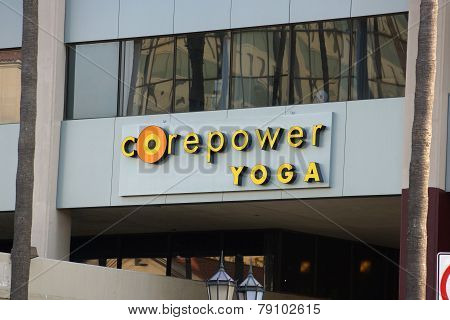 Corepower Yoga Studio Sign On Hollywood Boulevard