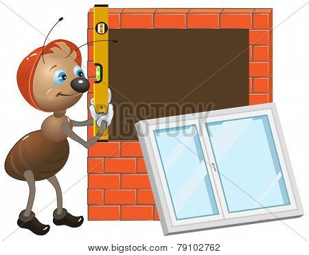 Ant worker. Installing plastic window