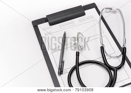 Stethoscope And Medical Records.