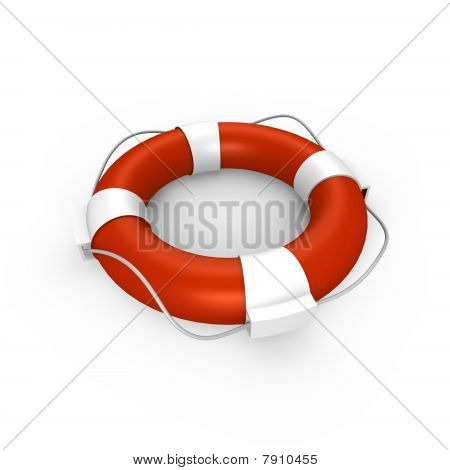 An isolated life buoy - a 3d image
