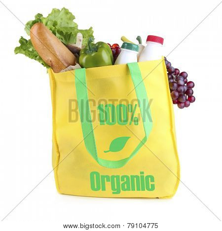 Yellow bag with organic products isolated on white