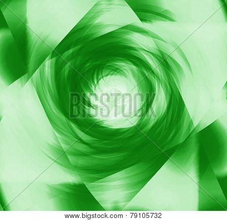 Soft green spiral burst light background