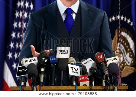 Politician At Press Conference
