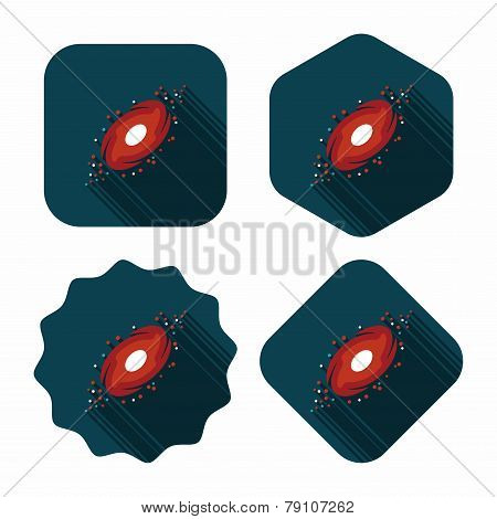 Space Galaxy Flat Icon With Long Shadow
