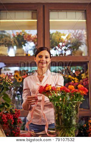 Portrait of a woman at flower shop