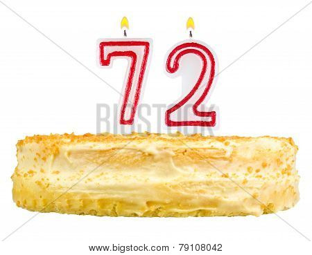 Birthday Cake With Candles Number Seventy Two