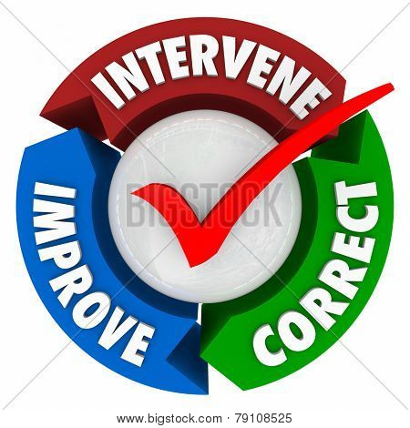 Intervene, Correct and Improve words on a circular diagram with check mark in middle to illustrate a problem that has been fixed due to involvement and intervention