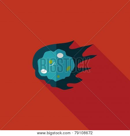 Space Meteorite Flat Icon With Long Shadow,eps10