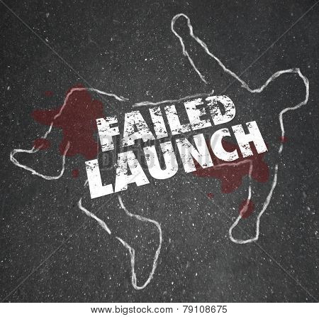 Failed Launch words on a chalk outline of a dead body to illustrate an unsuccessful new business or copmany startup