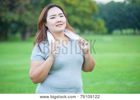 Happy Fatty Fit Woman Posing Outdoor