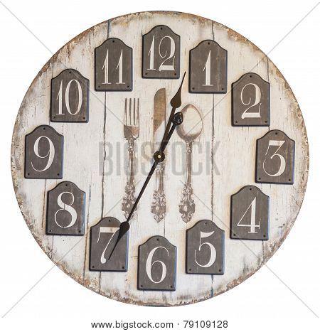 Retro Vintage Wall Clock Isolated