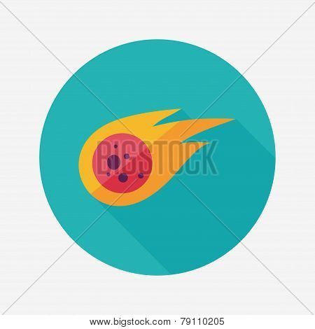 Space Meteorite Flat Icon With Long Shadow
