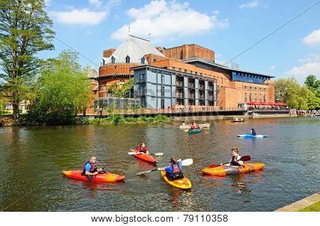 Royal Shakespeare Theatre and canoes, Stratford-Upon-Avon.