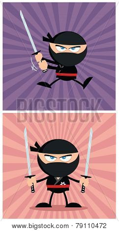 Ninja Warrior Character In Modern Flat Design.  Collection Set 1