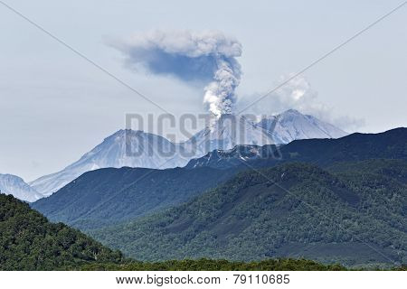 Beauty volcanic landscape: eruption active volcano