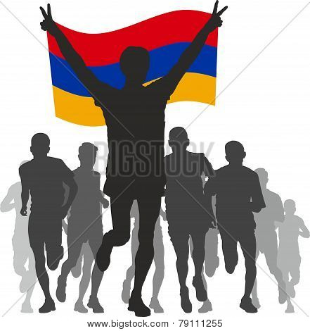Winner with the Armenia flag at the finish