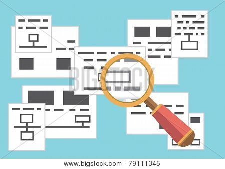Vector Concept Of Search Page With Information. Web Analytics Data. Flat Style Design