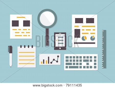 Flat Design Vector Of Objects And Equipment Analytics Information. ?reative Management