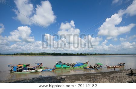Boats Unloading At Lay Myo River, Myanmar