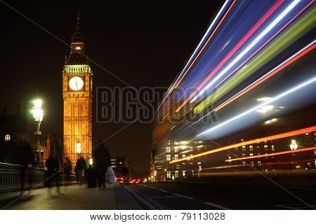Big Ben Seen From Westminster Bridge At Night