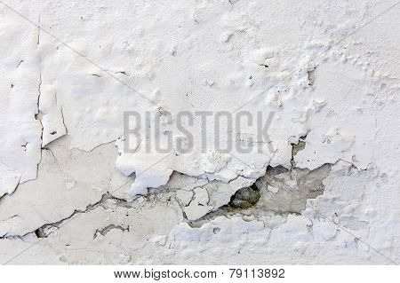 White Cracked Plastering Wall Background Or Texture