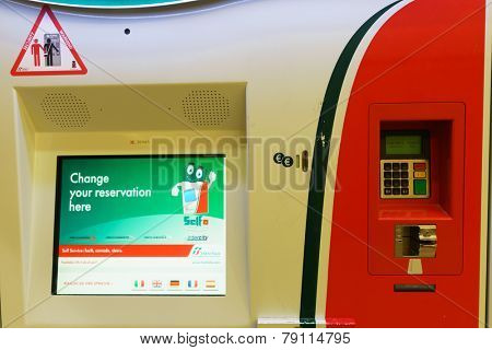 VENICE - SEP 14: ticketing kiosk on September 14, 2014 in Venice, Italy. Venice is a city in northeastern Italy sited on a group of 118 small islands separated by canals and linked by bridges