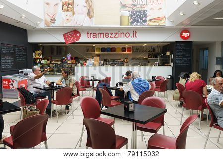 VERONA - SEP 15: Verona airport interior on September 15, 2014 in Verona, Italy. Verona Villafranca Airport is an airport located 2.7 NM southwest of Verona, Italy.