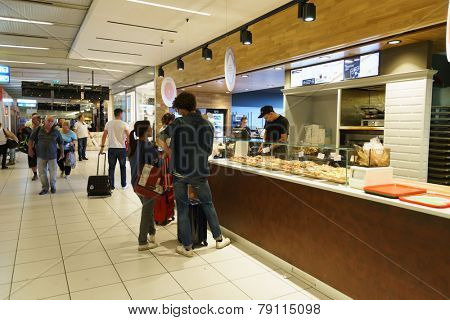 VERONA - SEP 15: Verona airport interior on September 15, 2014 in Verona, Italy. Verona Villafranca Airport, is an airport located 2.7 NM southwest of Verona, Italy.