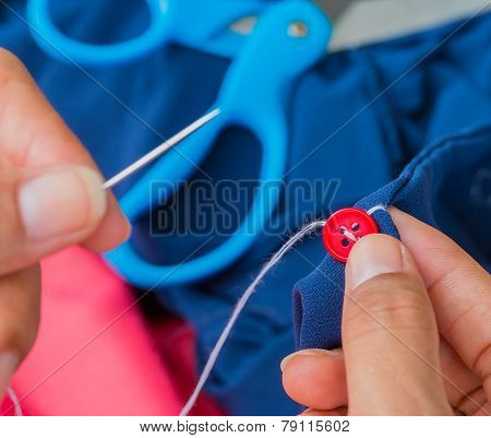 Sewing Button Indicates Cloth Thread And Fasten