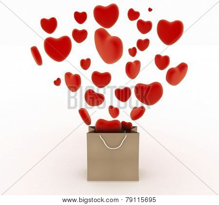 Hearts falling as gifts in a bag supermarket. The concept of a gift with love. 3d render illustration on a white background