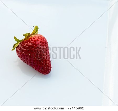 Strawberry With Copyspace Indicates White Background And Blank