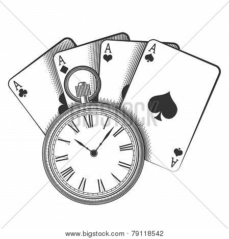 Old pocket watch and playing cards