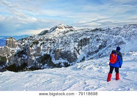 Tourist On Mountain