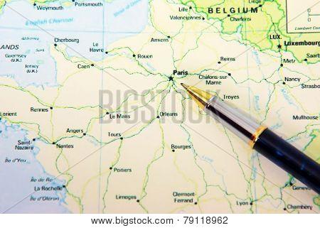 Ballpoint Pen On Map