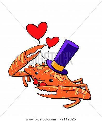 Magician Crab Cartoon Illustration