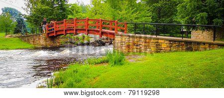 Lovely red bridge in the park.